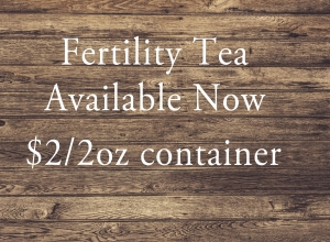 A tea specially mixed for a woman trying to conceive. Contains Alfalfa Leaf, Nettle Leaf, Raspberry Leaf and more! Come in for the tea and stay for the fertility massage!